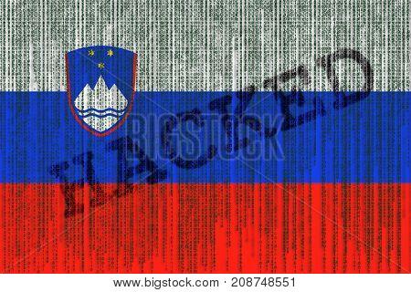 Data Hacked Slovenia Flag. Slovenia Flag With Binary Code.