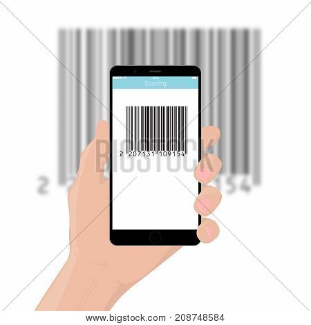 The mobile phone smartphone in hand scans the bar code