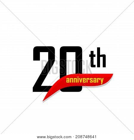20th Anniversary abstract vector logo. Twenty Happy birthday day icon. Black numbers witth red boomerang shape with yellow text 20 years