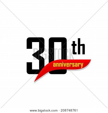 30th Anniversary abstract vector logo. Thirty Happy birthday day icon. Black numbers witth red boomerang shape with yellow text 30 years