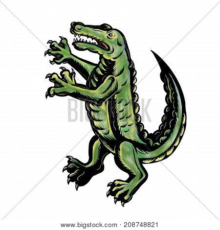 Tattoo style illustration of a crocodile or alligator standing up viewed from side on isolated background.