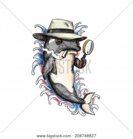 Tattoo style illustration of an Orca Killer Whale with fedora hat cigarette and holding a magnifying glass to look like a 1950s detective and with waves in background.
