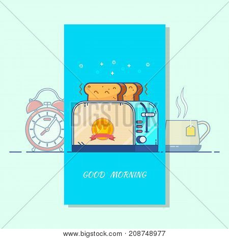 Good morning card. Toaster and a cup of tea Vector modern line flat style cartoon illustration.Isolated vector objects.Tea breakfast