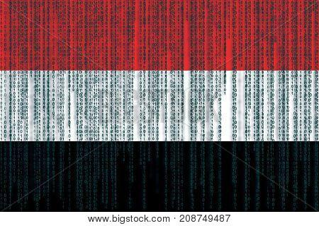 Data Protection Yemen Flag. Yemen Flag With Binary Code.