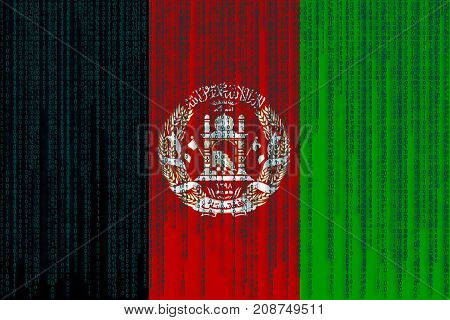 Data Protection Afghanistan Flag. Afghanistan Flag With Binary Code.