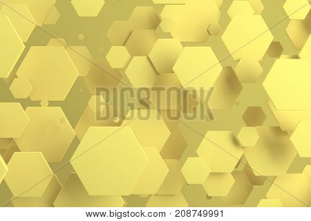 Yellow Hexagons Of Random Size On Yellow Background
