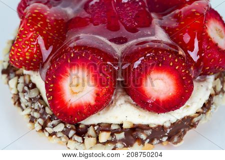 Top View Of Strawberry Cake With Chocolate