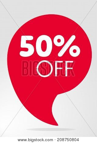 Special offer sale red tag isolated vector illustration. Discount offer price label symbol for advertising campaign in retail sale promo marketing 50 percent off discount sticker ad offer on shopping day