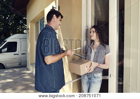 Smiling Girl Home Delivery Truck Package Porch