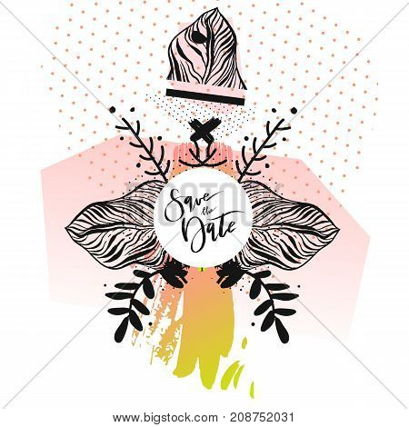Hand drawn vector abstract modern boho tropical minimalistic save the date card template with exotic palm leaf composition in pastel and green colors.Tribal Design for poster, card, invitation, brochure