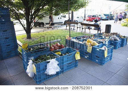 Czechia People Sale And Buy Product In Organic Farmer Street Market At I.p. Pavlova Station