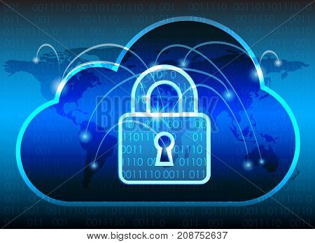 Abstract security cloud technology background key lock and could technology background Vector Illustration.