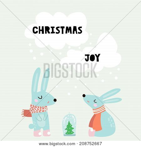 Cute winter greeting background with rabbits. Holiday and christmas illustration. It can be used for greeting card posters apparel poster