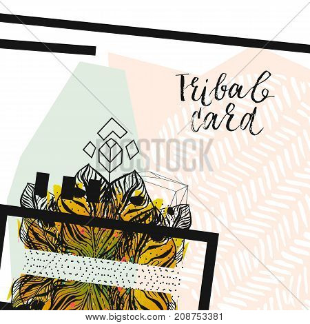Hand drawn vector abstract modern tropical minimalistic tribal unusual card template.Wedding, marriage, save the date, baby shower bridal, birthday, Valentine's day.Stylish simple design.Poster template