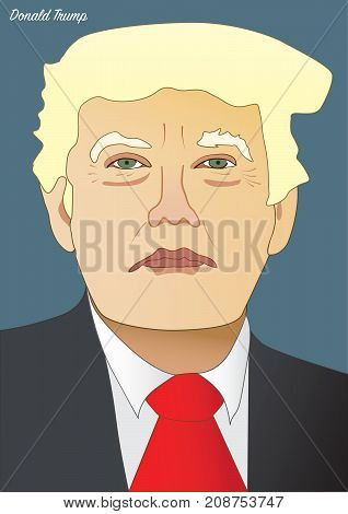 Vector portrait of Donald Trump President of the United States of America
