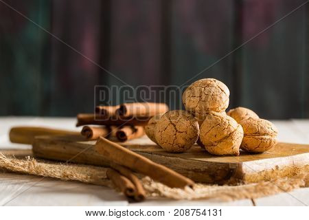 Delicious Homemade Nut Cookies on Rustic Background