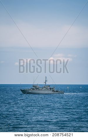 September 28th, 2017, Kalyves, Greece - a police ship patrols in front of the beach