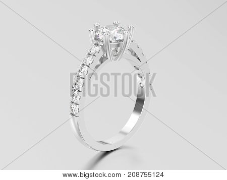 3D illustration white gold or silver solitaire engagement diamond ring with shadow and reflection on a grey background