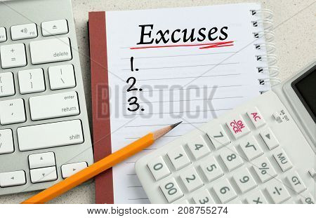 list of excuses written on a notebook