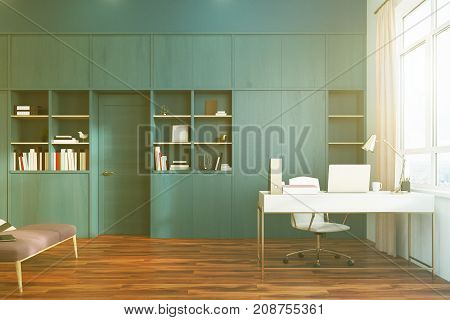 White Bedroom And Home Office Interior Side Toned