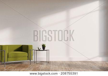 Minimalistic Living Room, Green Armchair