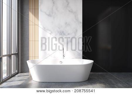 Marble And Black Bathroom, Tub
