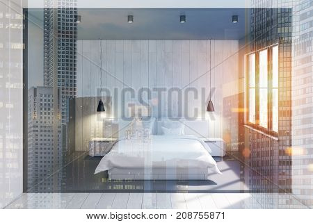 Gray And Wooden Bedroom Interior, Double