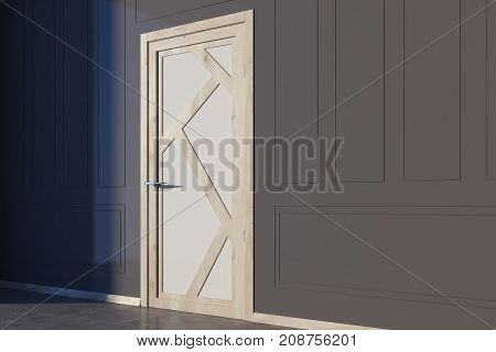 Gray Walled Room With White And Wooden Door Side