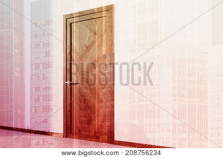White Walled Room With A Wooden Door Double