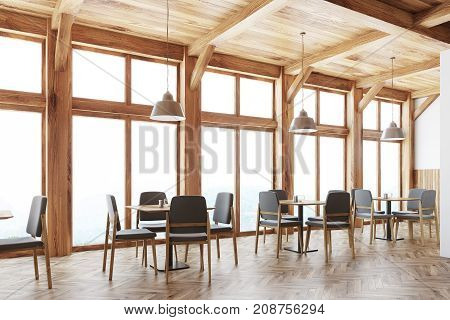 Wooden Cafe Interior, Windows Side