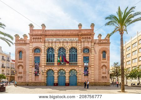 CADIZ,SPAIN - SEPTEMBER 30,2017 - View at the building of Gran Teatro Falla in Cadiz. Cadiz is the oldest continuously inhabited city in Spain.