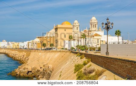 CADIZ,SPAIN - SEPTEMBER 30,2017 - View at seafront in Cadiz. Cadiz is the oldest continuously inhabited city in Spain.