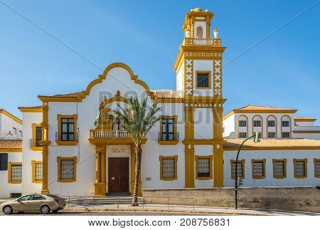 CADIZ,SPAIN - SEPTEMBER 30,2017 - View at the building school Campo del Sur in Cadiz. Cadiz is the oldest continuously inhabited city in Spain.