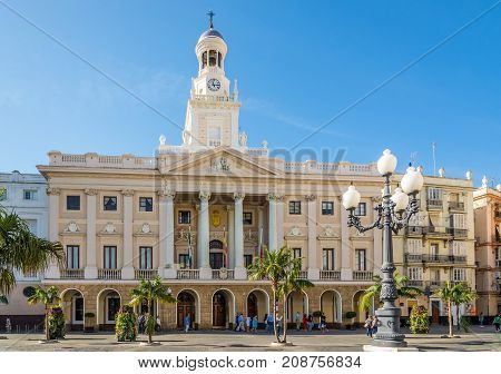 CADIZ,SPAIN - SEPTEMBER 30,2017 - View at the city hall of Cadiz. Cadiz is the oldest continuously inhabited city in Spain.