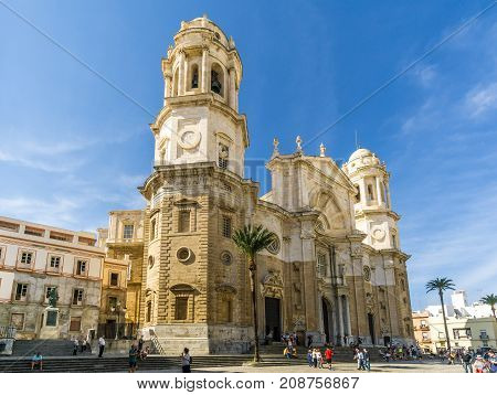 CADIZ,SPAIN - SEPTEMBER 30,2017 - View at the Cathedral in Cadiz. Cadiz is the oldest continuously inhabited city in Spain.