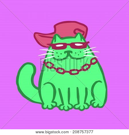 Rapper Cat Vector Illustration. Funny Cartoon Cool Character.