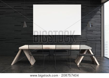Black Cafe Interior, Long Table, Poster