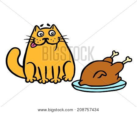 Orange cat sitting on the table and looking at the fried chicken. Funny cartoon cool character. Vector illustration.