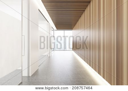 White glass and wooden office corridor with a row of closed glass doors and a panoramic window with a blurred cityscape. 3d rendering mock up
