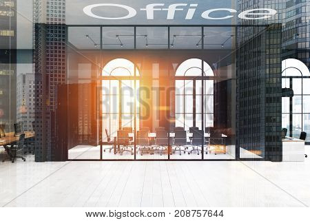 Black Brick And Glass Meeting Room, Toned