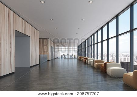 Light Wooden Waiting Room, Loft Office, Armchairs