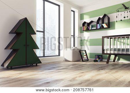 Green And White Nursery Corner, Crib