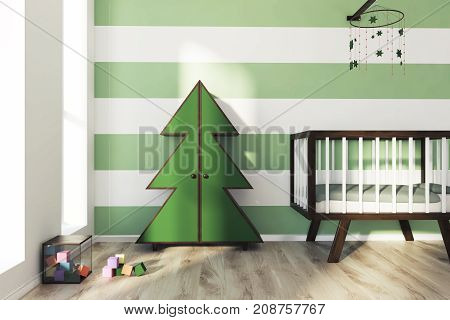 Green And White Nursery, Crib And Fur Tree
