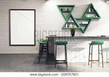 White Bar Interior, Stand And Shelves