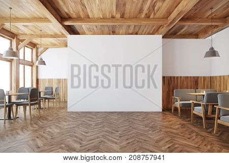 Wooden Cafe Interior, White Wall