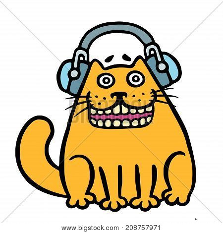 Cheerful orange cat in headphones listening to music. Vector illustration. Cartoon character. Contour funny cat. White color background.