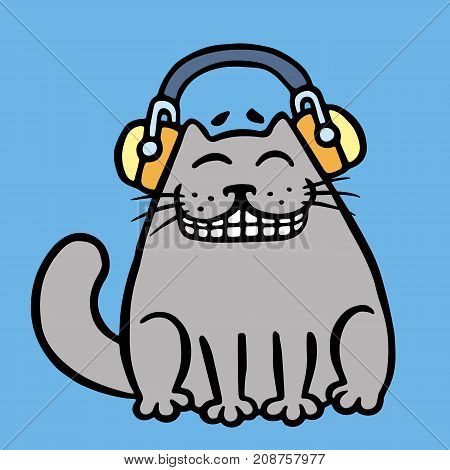 Cute grey cat in headphones listening to music. Vector illustration. Cartoon character. Contour funny cat. Blue color background.