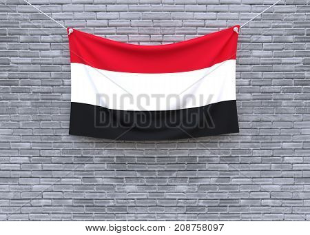 Yemen flag hanging on brick wall. 3D illustration