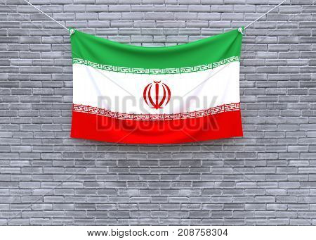 Iran flag on brick wall. 3D illustration