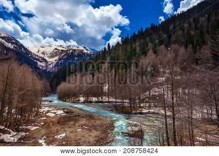 Spring melting snow in the mountains a fast cold turquoise river flows between the forests against the background of ever green trees and high mountains. Audakhara, Relict national park of Ritsa. Abkhazia.